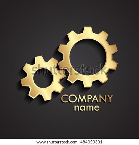Stock Photo 3d golden gears logo