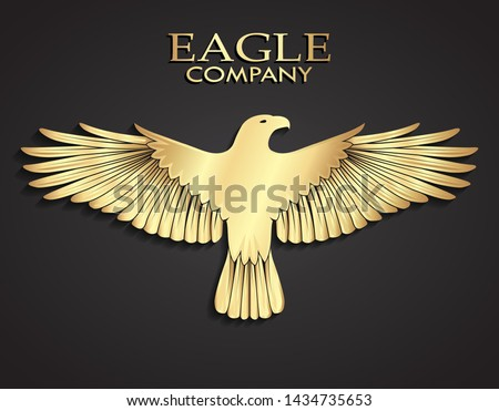 3d golden metal elegant eagle logo design Stock photo ©