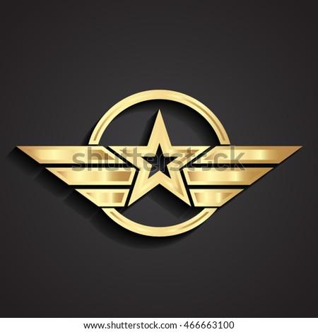 3d golden military star symbol