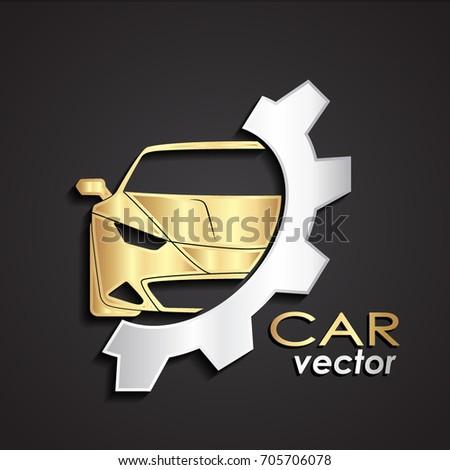 3d golden silver car logo with