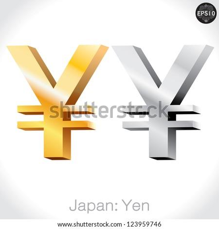 3D golden & Silver Yen sign isolated on white, Japan money, vector illustration.