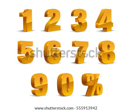 3D Golden-Yellow Metallic Letter. Percent, 0, 1, 2, 3, 4, 5, 6, 7, 8, 9 numeral alphabet. Vector Isolated Number.