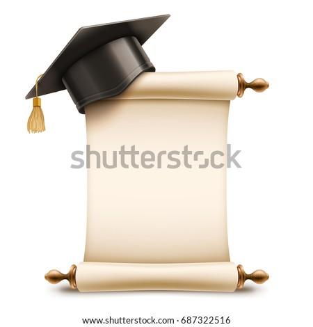 3D Graduation Cap on Diploma Scroll