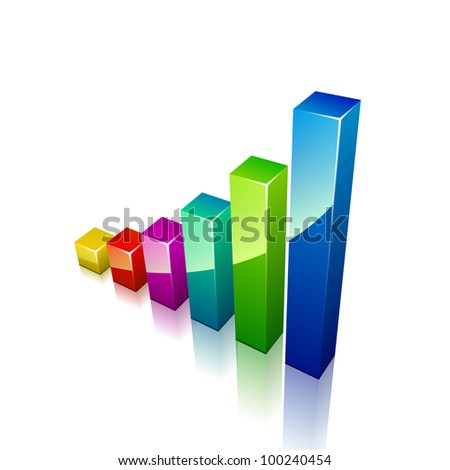 3d graph growing up. Vector illustration for business