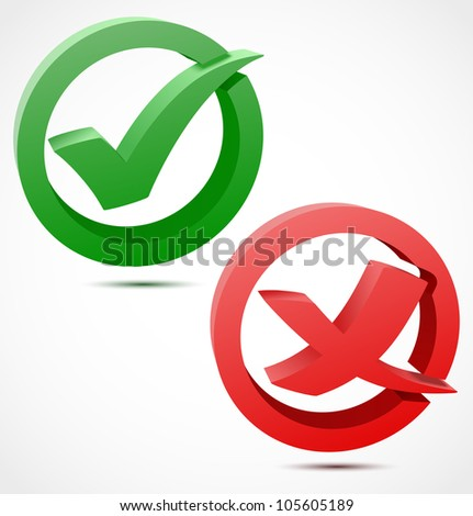 3d green and red check mark symbols. Vector illustration