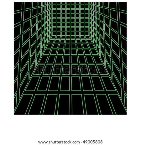 3d green cube   vector