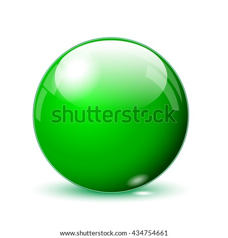3d green glass ball isolated on