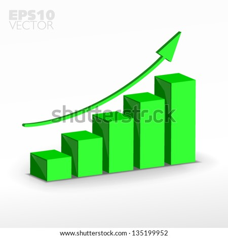 3D green  growth graph. Vector