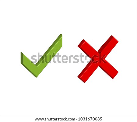 3D green tick and red x in vector graphics