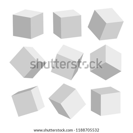 3d grey realistic modern square standing in different positions vector illustration #1188705532