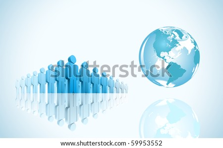 3d group of people and world. Vector illustration.
