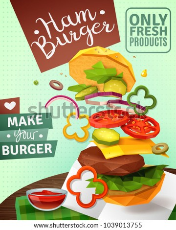3D hamburger and sauce on brown wooden table, ad poster on green textured background vector illustration