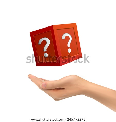 3d hand holding mysterious box