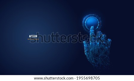 3d hand with index finger pressing or pushing button. Action or gesture concept in dark blue. Abstract vector image looks like starry sky. Digital polygonal wireframe with dots, lines and shapes
