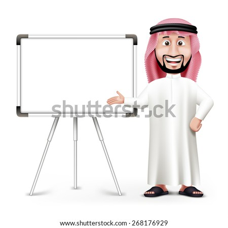 3d handsome saudi arab man in
