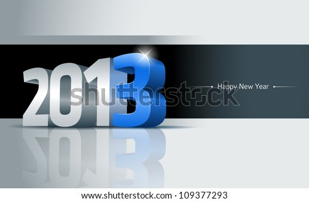 3D 2013 Happy New Year greeting card. All elements are layered separately. Easy editable.