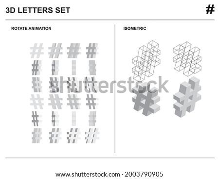 3d Hashtag Alphabet Letters Set Animate Isometric Wireframe Vector Photo stock ©