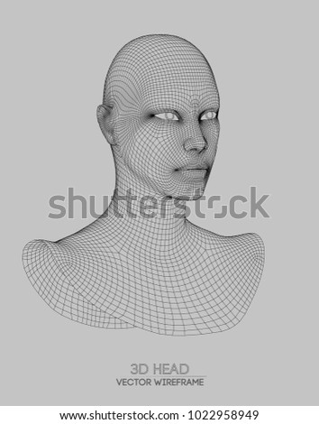 3d head wireframe vector
