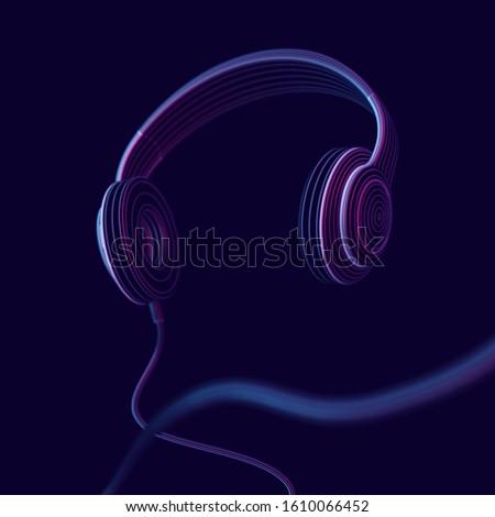 3d headphone on dark background
