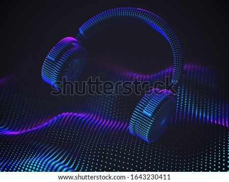 3d headphones on sound wave