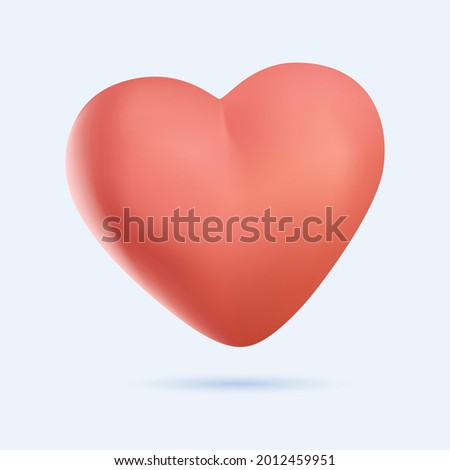 3D Heart icon vector 10 eps design. Like and Heart icon. Upvote likes button. Social nets red heart web buttons isolated on white background. Vector illustration. 3D heart illustration free to edit.