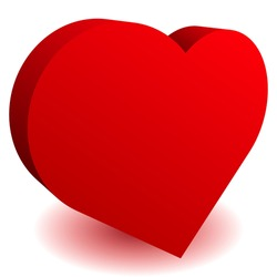 3D Heart shape as affection,  love, fondness icon and logo