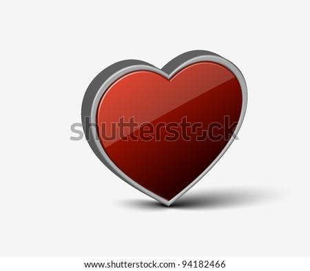 3d heart symbol for valentine's day icon used.