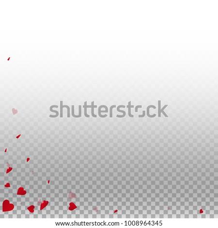 3d hearts. Abstract left bottom corner on transparent grid light background. 3d hearts valentine's day amazing design. Vector illustration.