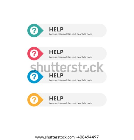 3d Help Button set with icon. beautiful text button with icon. Orange Button, Blue Button, Red Button, Turquoise button. Call to action icon button. Flat Button Set. Vector Illustration