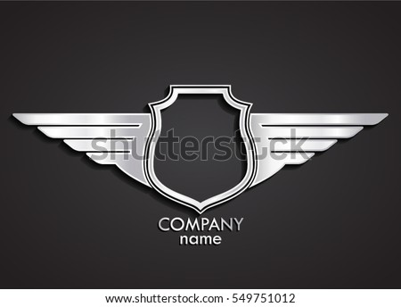 3d heraldic shield and wings logo / silver emblem