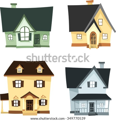 3d homes cartoon set different