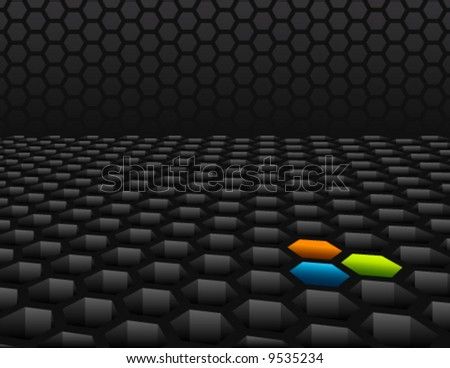 3D honeycomb mesh background with color accents
