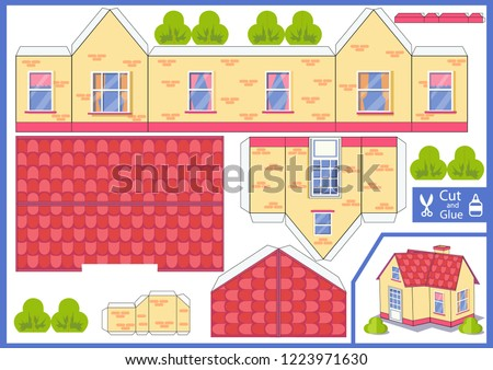 3d house. Cut and glue the paper a house. Worksheet with funny education riddle. Children printable crafts activity page. Vector template toy.