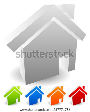 3d house icons for residential building, home, small house, homepage, real estate themes. Editable vectors.