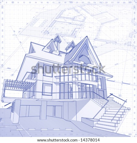 3D house vector technical draw