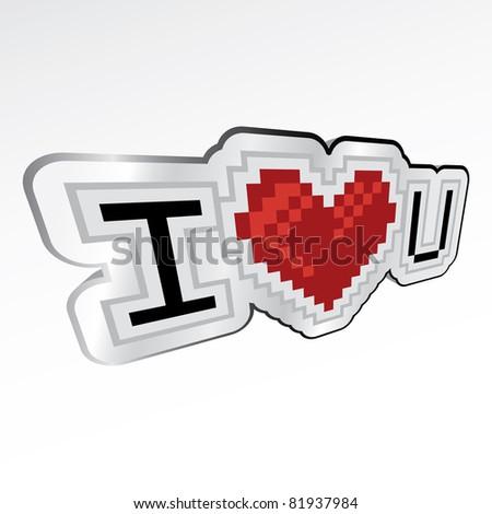 3d I love you retro look logo - illustration