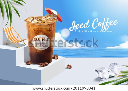 3d iced coffee ad template with