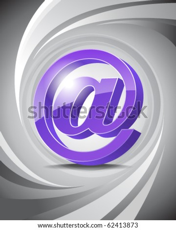 3D Icon of At with Abstract Background
