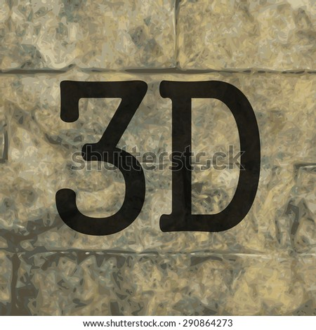 3d icon symbol on a stone wall