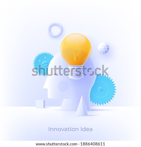 3D icon with realistic design element of bright idea in human head, success human solution, lightbulb lamp, eureka in problem solving. Modern style logo vector illustration concept.