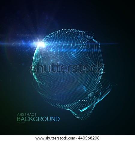3d illuminated abstract digital