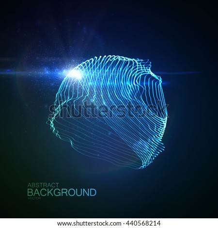 3d illuminated abstract digital