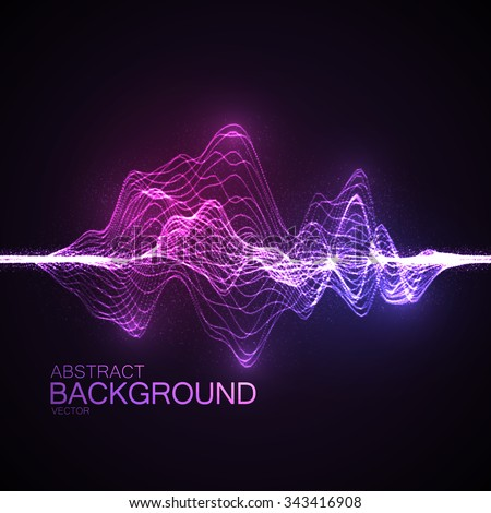 3D illuminated abstract digital wave of glowing particles and wireframe. Futuristic vector illustration. HUD element. Technology concept. Abstract background