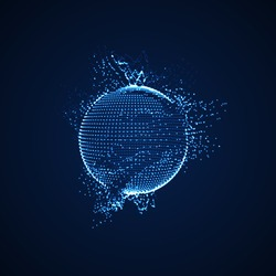 3D illuminated distorted sphere of glowing particles and wireframe. Futuristic vector illustration. HUD element. Technology digital splash or explosion concept