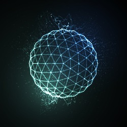 3D illuminated neon sphere of glowing particles. Futuristic vector illustration. HUD element. Technology concept