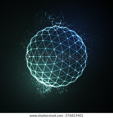 Stock Photo 3D illuminated neon sphere of glowing particles. Futuristic vector illustration. HUD element. Technology concept
