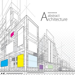 3D illustration architecture building construction perspective design, abstract modern urban line drawing background.