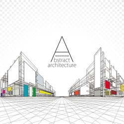 3D illustration architecture building perspective design, modern urban architecture abstract background.