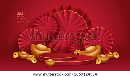 3D illustration Chinese New Year red and golden theme product display background with ingot, paper fan and podium.