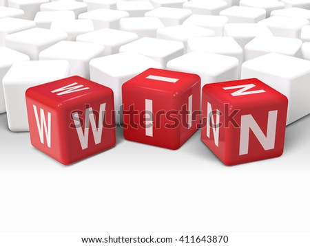 3d illustration dice with word